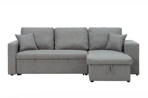 Sectional sofa with pulled out bed, 2 seats sofa and reversible chaise with storage, arms with shelf function, two samll pillows,GREY 2