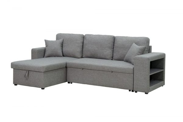 Sectional sofa with pulled out bed, 2 seats sofa and reversible chaise with storage, arms with shelf function, two samll pillows,GREY 3