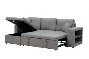 Sectional sofa with pulled out bed, 2 seats sofa and reversible chaise with storage, arms with shelf function, two samll pillows,GREY 45 side