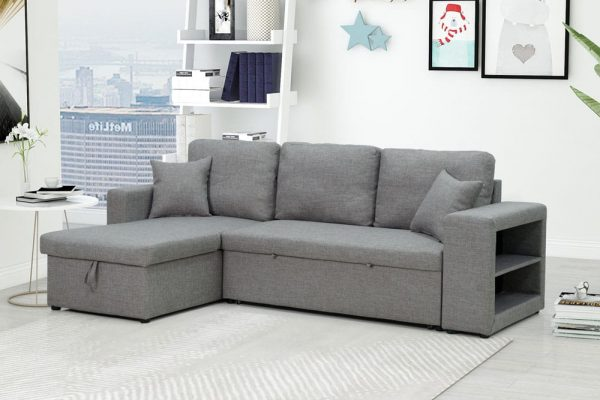 Sectional sofa with pulled out bed, 2 seats sofa and reversible chaise with storage, arms with shelf function, two samll pillows,GREY