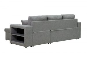 Sectional sofa with pulled out bed, 2 seats sofa and reversible chaise with storage, arms with shelf function, two samll pillows,GREY back