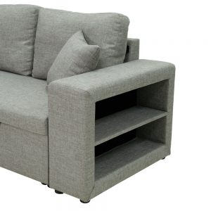 Sectional sofa with pulled out bed, 2 seats sofa and reversible chaise with storage, arms with shelf function, two samll pillows,GREY details