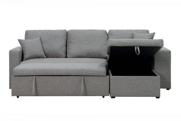 Sectional sofa with pulled out bed, 2 seats sofa and reversible chaise with storage, arms with shelf function, two samll pillows,GREY front