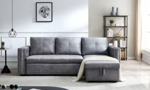 Sectional sofa with pulled out bed, 2 seats sofa and reversible chaise with storage, both hands with copper nail, GREY