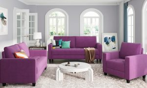 Sofa Set Morden Style Couch Furniture Upholstered Armchair, Loveseat and Three Seat for Home or Office (1+2+3-Seat)
