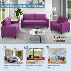 Sofa Set Morden Style Couch Furniture Upholstered Armchair, Loveseat and Three Seat for Home or Office (1+2+3-Seat) details7