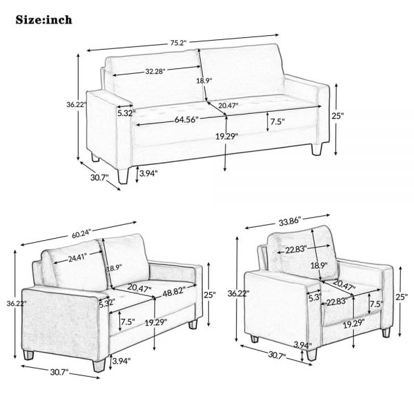 Sofa Set Morden Style Couch Furniture Upholstered Armchair, Loveseat and Three Seat for Home or Office (1+2+3-Seat) size