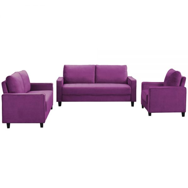 Sofa Set Morden Style Couch Furniture Upholstered Armchair, Loveseat and Three Seat for Home or Office (1+2+3-Seat)2