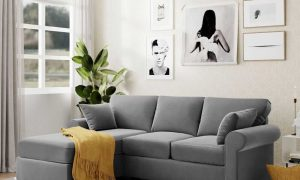 U_STYLE Sectional Sofa Couch,L-Shaped Couch for Small Space,Grey