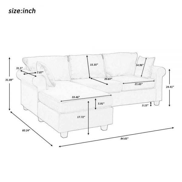 U_STYLE Sectional Sofa Couch,L-Shaped Couch for Small Space,Grey size