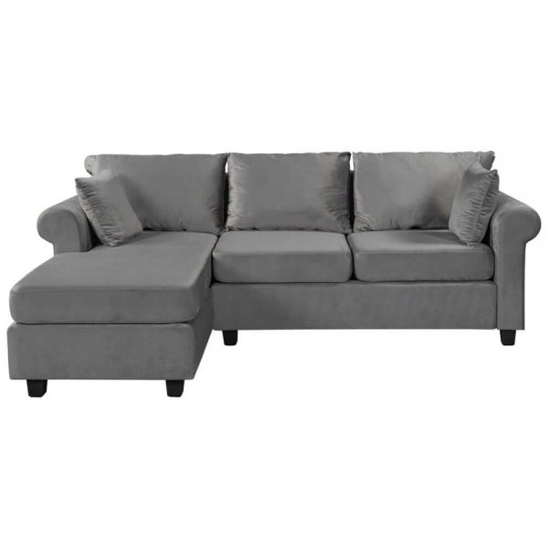 U_STYLE Sectional Sofa Couch,L-Shaped Couch for Small Space,Grey white