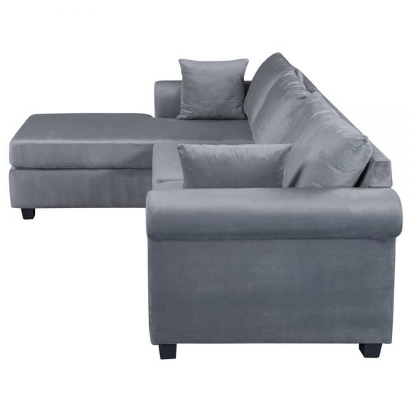 U_STYLE Sectional Sofa Couch,L-Shaped Couch for Small Space,Grey white side