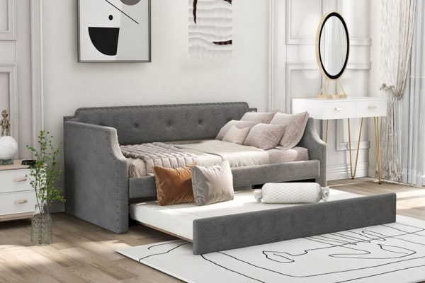 Upholstered Daybed with Trundle, Wood Slat Support,Upholstered Frame Sofa Bed , Twin,Gray