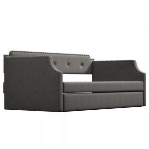 Upholstered Daybed with Trundle, Wood Slat Support,Upholstered Frame Sofa Bed , Twin,Gray details2