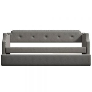 Upholstered Daybed with Trundle, Wood Slat Support,Upholstered Frame Sofa Bed , Twin,Gray details3