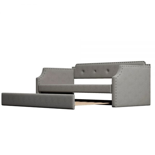Upholstered Daybed with Trundle, Wood Slat Support,Upholstered Frame Sofa Bed , Twin,Gray details5