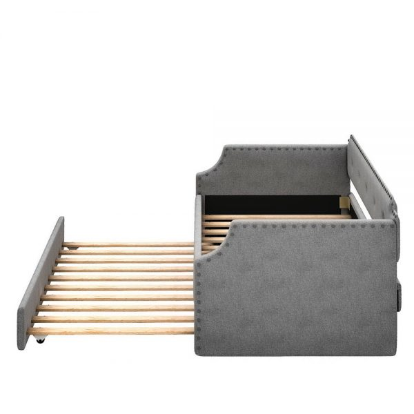 Upholstered Daybed with Trundle, Wood Slat Support,Upholstered Frame Sofa Bed , Twin,Gray details6