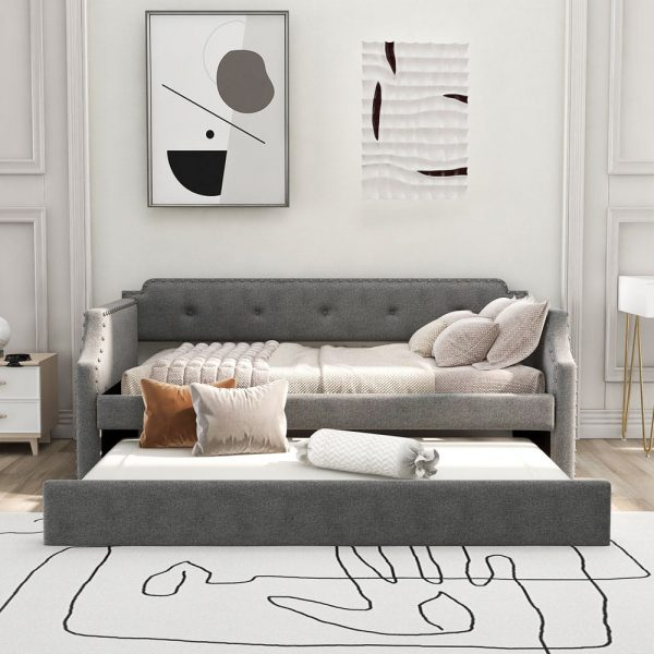 Upholstered Daybed with Trundle, Wood Slat Support,Upholstered Frame Sofa Bed , Twin,Gray front