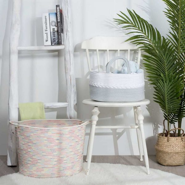 Woven Laundry Basket for Clothes and Toys