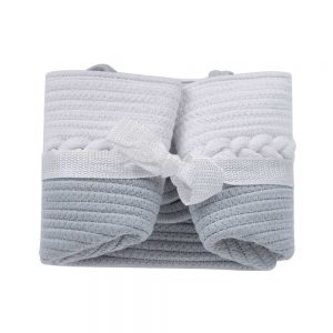 Woven Laundry Basket for Clothes and Toys details white