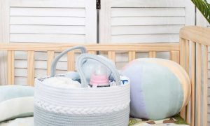 Woven Laundry Basket for Clothes and Toys sences