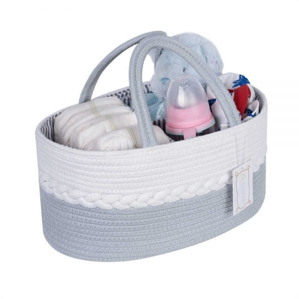 Woven Laundry Basket for Clothes and Toys white2