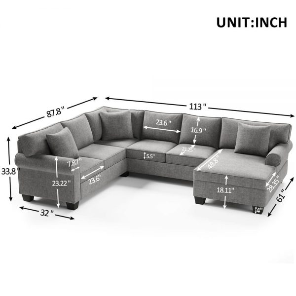 11387.8 3 pcs Chenille Sectional Sofa Upholstered Rolled Arm Classic Chesterfield Sectional Sofa 3 Pillows Included size