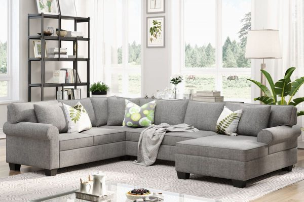 11387.8 3 pcs Chenille Sectional Sofa Upholstered Rolled Arm Classic Chesterfield Sectional Sofa 3 Pillows Included2