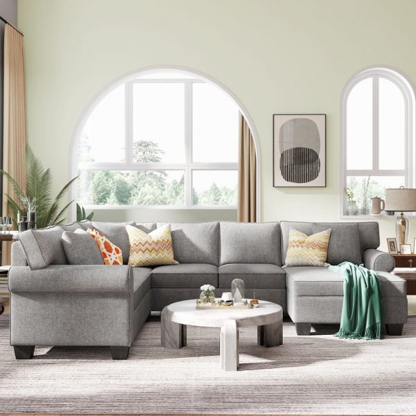 11387.8 3 pcs Chenille Sectional Sofa Upholstered Rolled Arm Classic Chesterfield Sectional Sofa 3 Pillows Included4