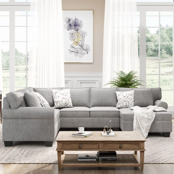 11387.8 3 pcs Chenille Sectional Sofa Upholstered Rolled Arm Classic Chesterfield Sectional Sofa 3 Pillows Included5