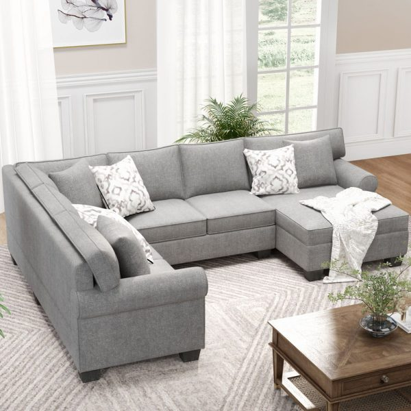 11387.8 3 pcs Chenille Sectional Sofa Upholstered Rolled Arm Classic Chesterfield Sectional Sofa 3 Pillows Included6