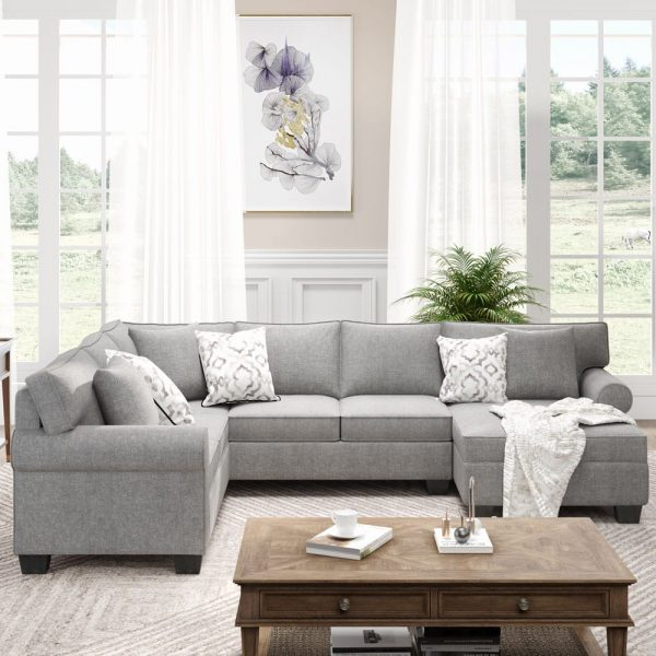 11387.8 3 pcs Chenille Sectional Sofa Upholstered Rolled Arm Classic Chesterfield Sectional Sofa 3 Pillows Included7