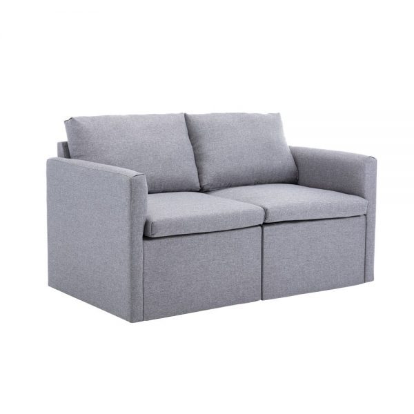 2-seat Sofa Couch with Modern Linen Fabric for Living Room or Apartment 2