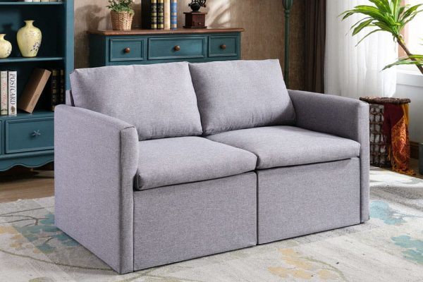 2-seat Sofa Couch with Modern Linen Fabric for Living Room or Apartment
