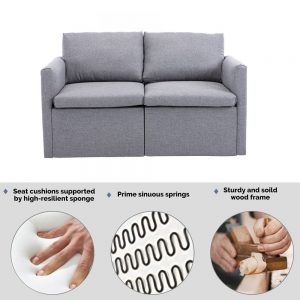 2-seat Sofa Couch with Modern Linen Fabric for Living Room or Apartment detail
