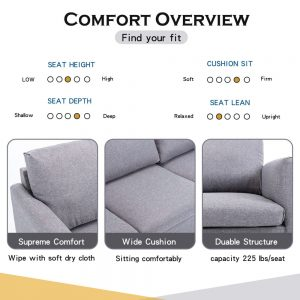 2-seat Sofa Couch with Modern Linen Fabric for Living Room or Apartment detail1