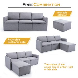 2-seat Sofa Couch with Modern Linen Fabric for Living Room or Apartment detail2
