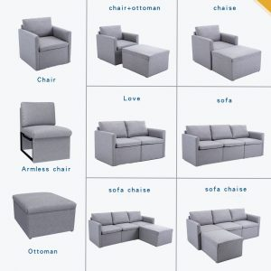 2-seat Sofa Couch with Modern Linen Fabric for Living Room or Apartment detail4