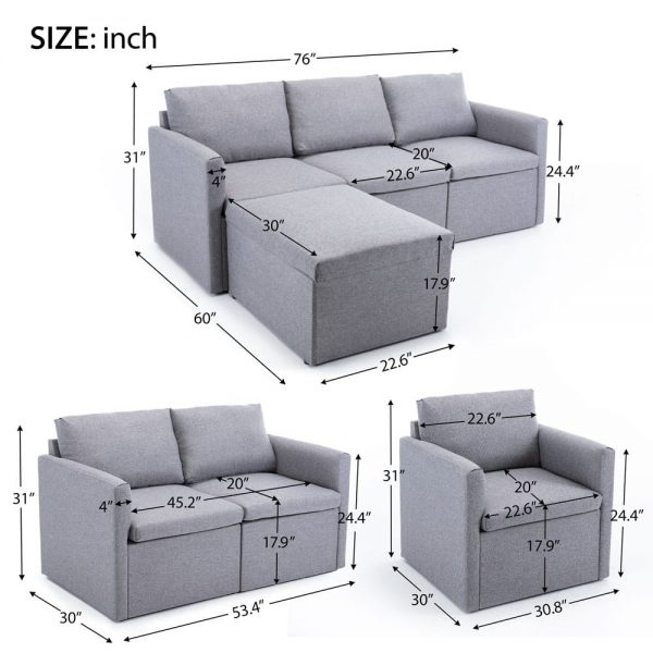 2-seat Sofa Couch with Modern Linen Fabric for Living Room or Apartment size