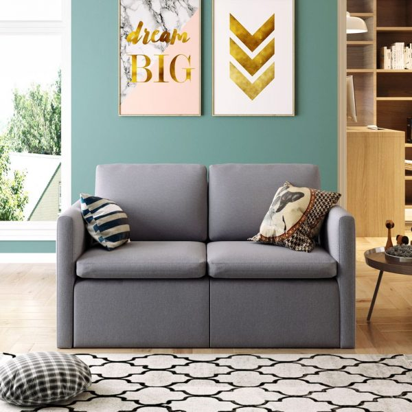 2-seat Sofa Couch with Modern Linen Fabric for Living Room or Apartment1