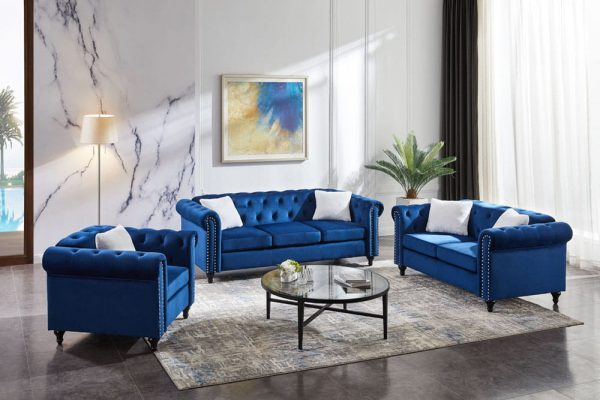 3 Piece Living Room Sofa Set, including 3-seater sofa, loveseat and sofa chair, with button and copper nail on arms and back, five white villose pillow.