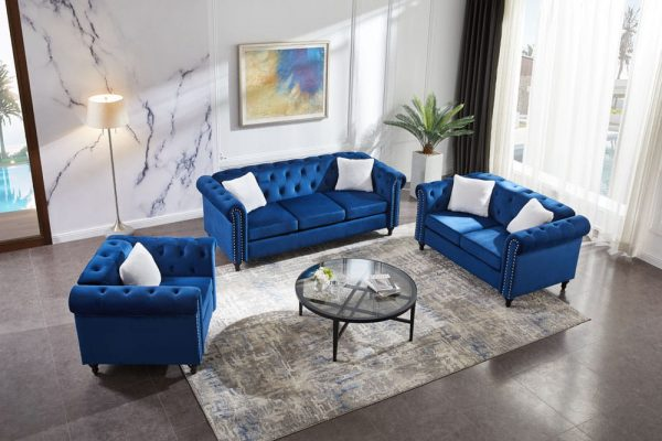 3 Piece Living Room Sofa Set, including 3-seater sofa, loveseat and sofa chair, with button and copper nail on arms and back, five white villose pillow.1
