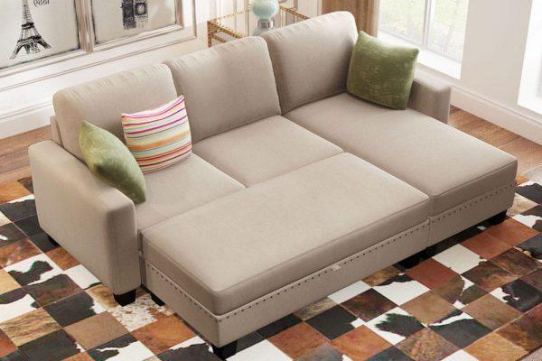 81 Nailheaded Textured Fabric 3 pieces,Sofa,Square Ottoman,Rectangle Storage Ottoman,Warm Grey