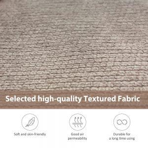 81 Nailheaded Textured Fabric 3 pieces,Sofa,Square Ottoman,Rectangle Storage Ottoman,Warm Grey detail