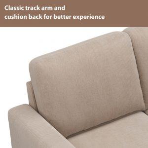 81 Nailheaded Textured Fabric 3 pieces,Sofa,Square Ottoman,Rectangle Storage Ottoman,Warm Grey detail1