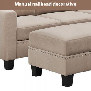 81 Nailheaded Textured Fabric 3 pieces,Sofa,Square Ottoman,Rectangle Storage Ottoman,Warm Grey detail2