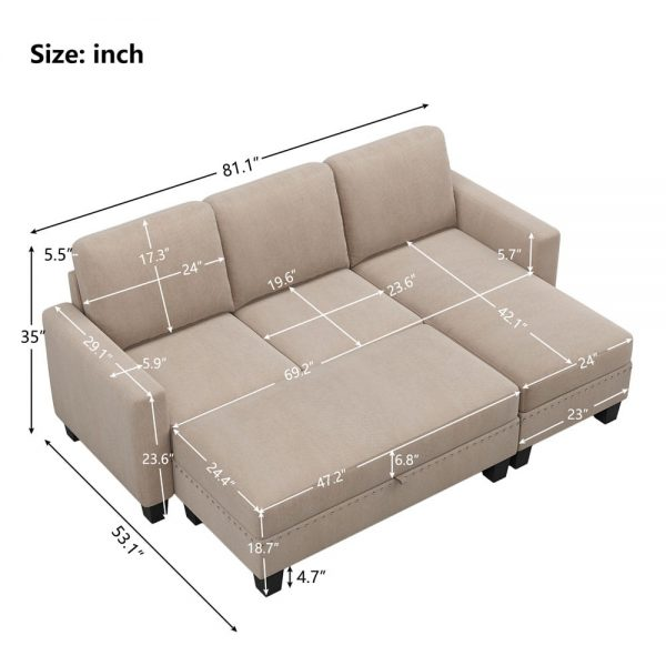 81 Nailheaded Textured Fabric 3 pieces,Sofa,Square Ottoman,Rectangle Storage Ottoman,Warm Grey size