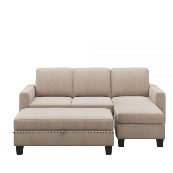 81 Nailheaded Textured Fabric 3 pieces,Sofa,Square Ottoman,Rectangle Storage Ottoman,Warm Grey2