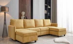 Convertible Modular Sectional Sofa with Ottomans,Yellow Color