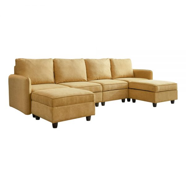 Convertible Modular Sectional Sofa with Ottomans,Yellow Color1